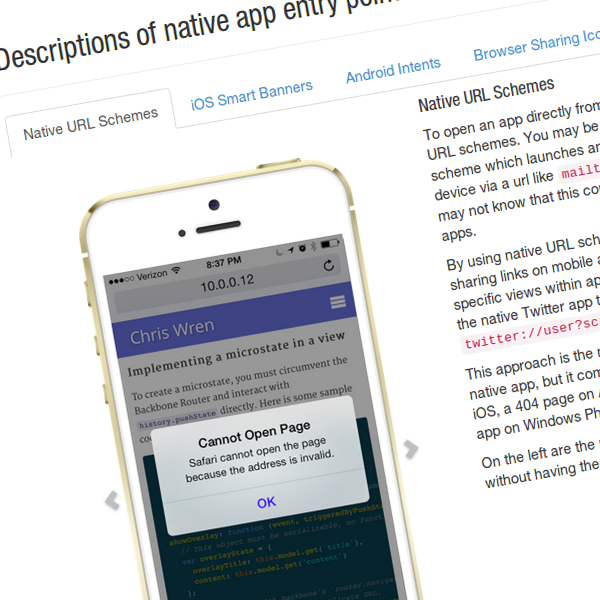 Native app social interactions on mobile and tablet web
