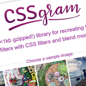CSSgram: Instagram Image Effects in Plain CSS