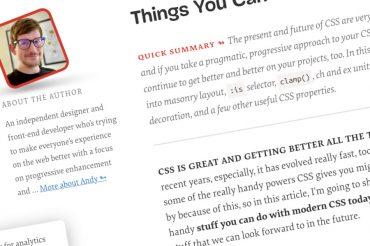 Cosas que puede hacer con CSS hoy