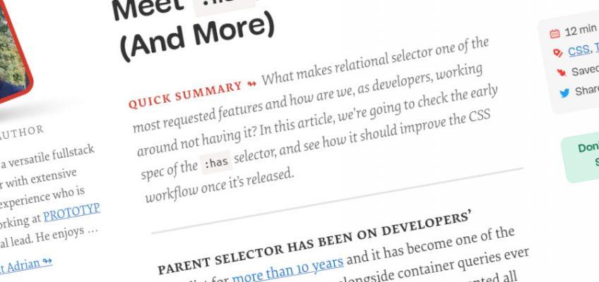 Conocemos a: has, un selector principal de CSS nativo (y más)